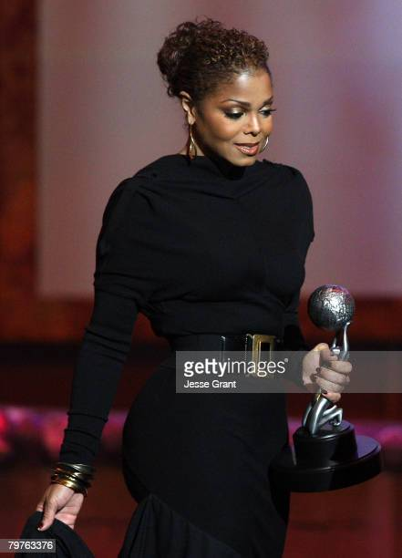 Singer/actress Janet Jackson presents the Image Awards Hall of Fame award onstage during the 39th NAACP Image Awards held at the Shrine Auditorium on...
