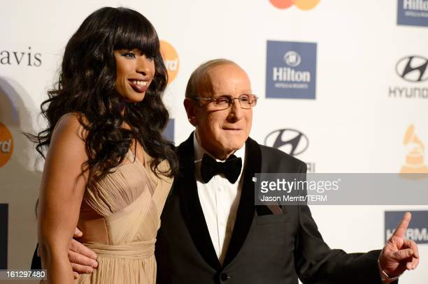 Singer/actress Jennifer Hudson and Chief Creative Officer of Sony Music Entertainment Clive Davis arrive at Clive Davis The Recording Academy's 2013...