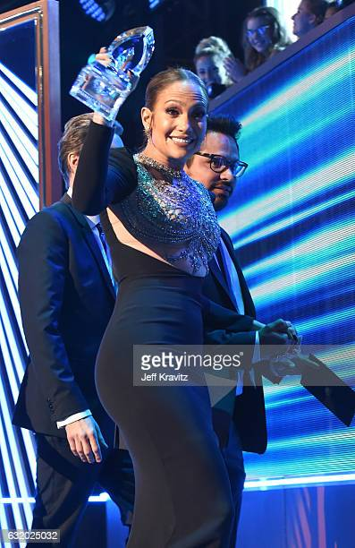 Singer/actress Jennifer Lopez accepts an award onstage during the People's Choice Awards 2017 at Microsoft Theater on January 18 2017 in Los Angeles...