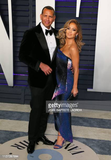 Singer/actress Jennifer Lopez and former probaseball player Alex Rodriguez attend the 2019 Vanity Fair Oscar Party following the 91st Academy Awards...