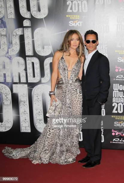 Singer/actress Jennifer Lopez and husband and singer Marc Anthony attend the World Music Awards 2010 at the Sporting Club on May 18, 2010 in Monte...