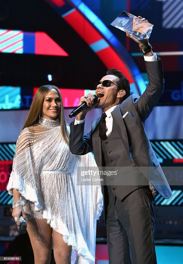 Singer/actress Jennifer Lopez and Person of the Year award honoree Marc Anthony speak onstage during The 17th Annual Latin Grammy Awards at T-Mobile Arena on November 17, 2016 in Las Vegas, Nevada.