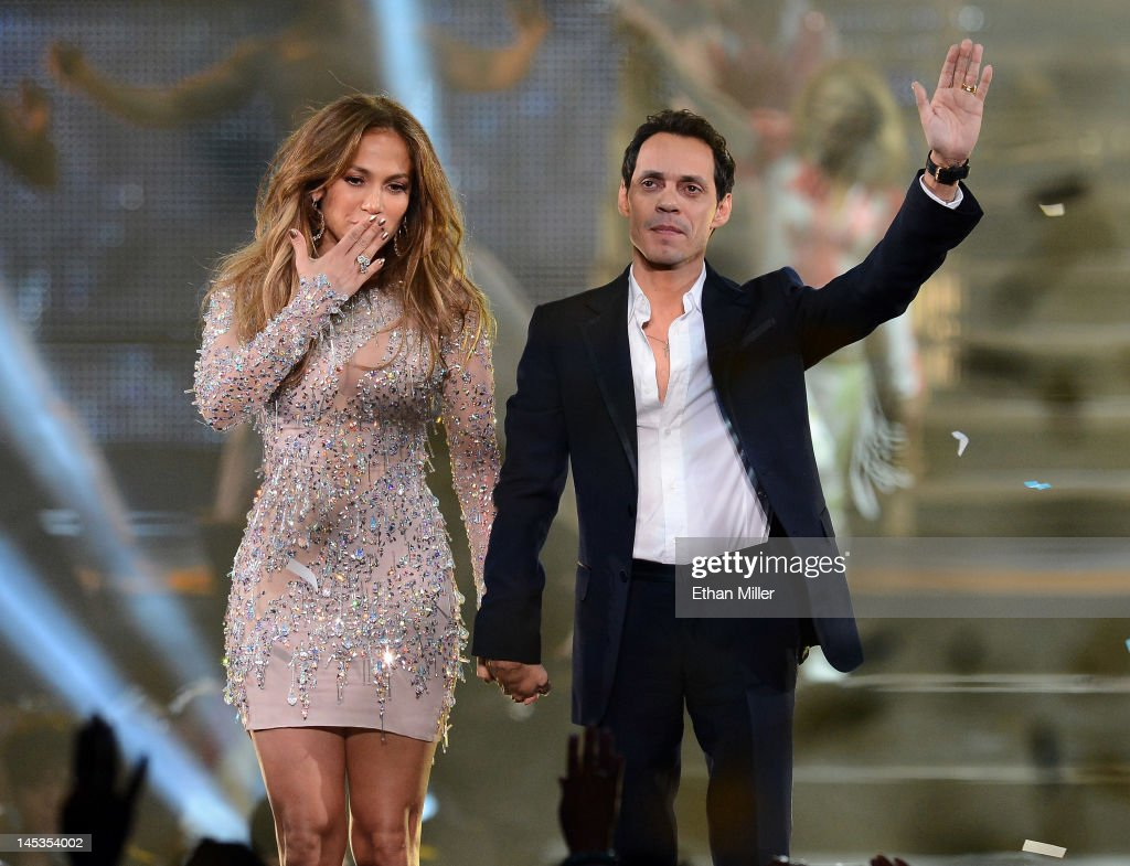 Singer/actress Jennifer Lopez (L) and singer Marc Anthony appear during the finale of the Q'Viva! The Chosen Live show at the Mandalay Bay Events Center on May 26, 2012 in Las Vegas, Nevada.