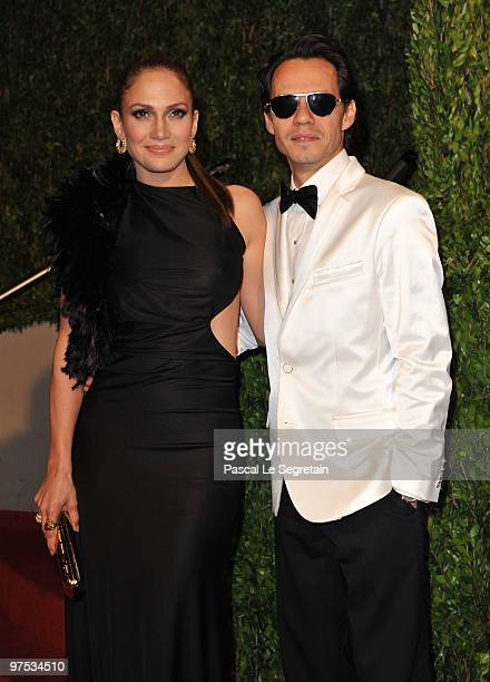 Singer/actress Jennifer Lopez and singer Marc Anthony arrive at the 2010 Vanity Fair Oscar Party hosted by Graydon Carter held at Sunset Tower on...