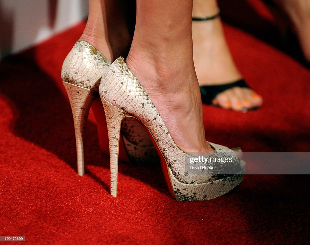 Singer/actress Jennifer Lopez (shoe detail) arrives at a post concert party at the Pure Nightclub at Caesars Palace early August 19, 2012 in Las Vegas, Nevada.