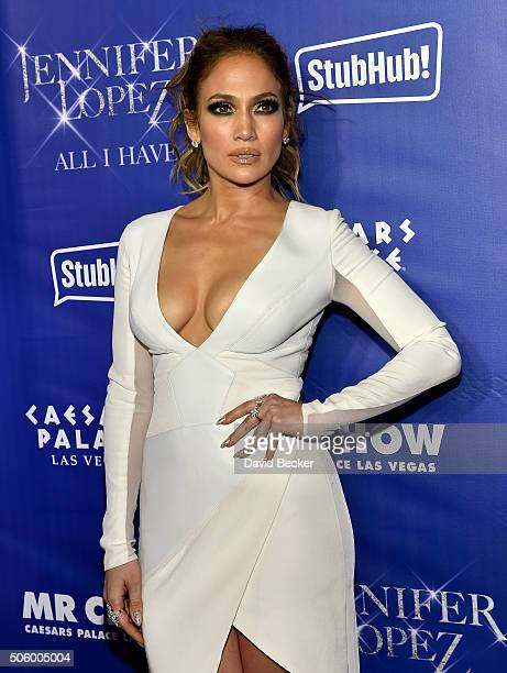 """Singer/actress Jennifer Lopez arrives at the after party for her residency """"JENNIFER LOPEZ: ALL I HAVE"""" and the grand opening of Mr. Chow at Caesars..."""