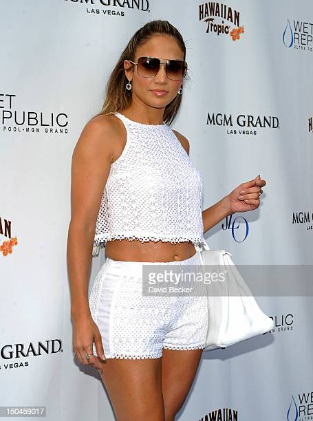 Singer/actress Jennifer Lopez arrives for an appearance at the Wet Republic pool at the MGM Grand Hotel/Casino on August 18, 2012 in Las Vegas,...