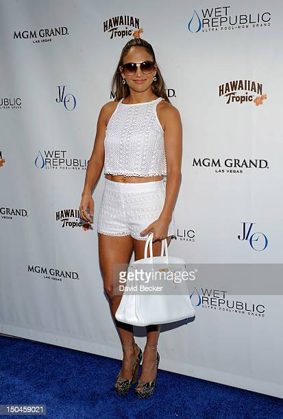 Singer/actress Jennifer Lopez arrives for an appearance at the Wet Republic pool at the MGM Grand Hotel/Casino on August 18 2012 in Las Vegas Nevada