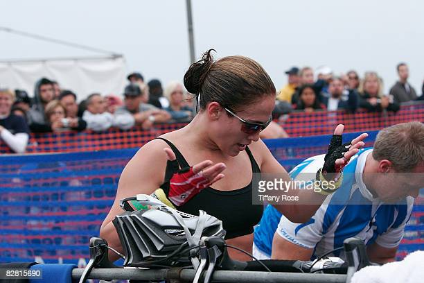 Singer/Actress Jennifer Lopez loses her biking shoes at the Nautica Malibu Triathlon on September 14 2008 in Malibu California