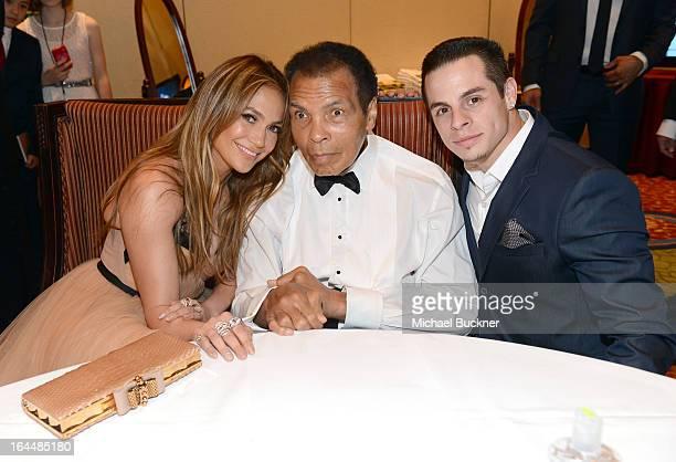 Singer/actress Jennifer Lopez Muhammad Ali and dancer Casper Smart attend Muhammad Ali's Celebrity Fight Night XIX at JW Marriott Desert Ridge Resort...