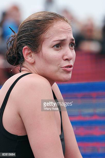 Singer/Actress Jennifer Lopez reacts as she looks for her biking shoes during the Nautica Malibu Triathlon on September 14 2008 in Malibu California