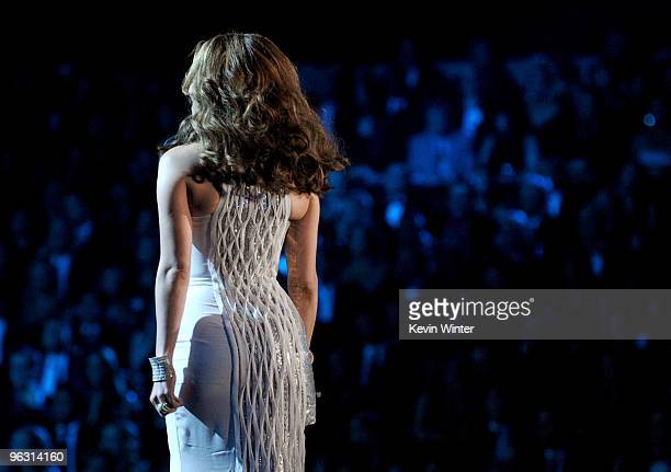 Singer/actress Jennifer Lopez speaks onstage during the 52nd Annual GRAMMY Awards held at Staples Center on January 31 2010 in Los Angeles California