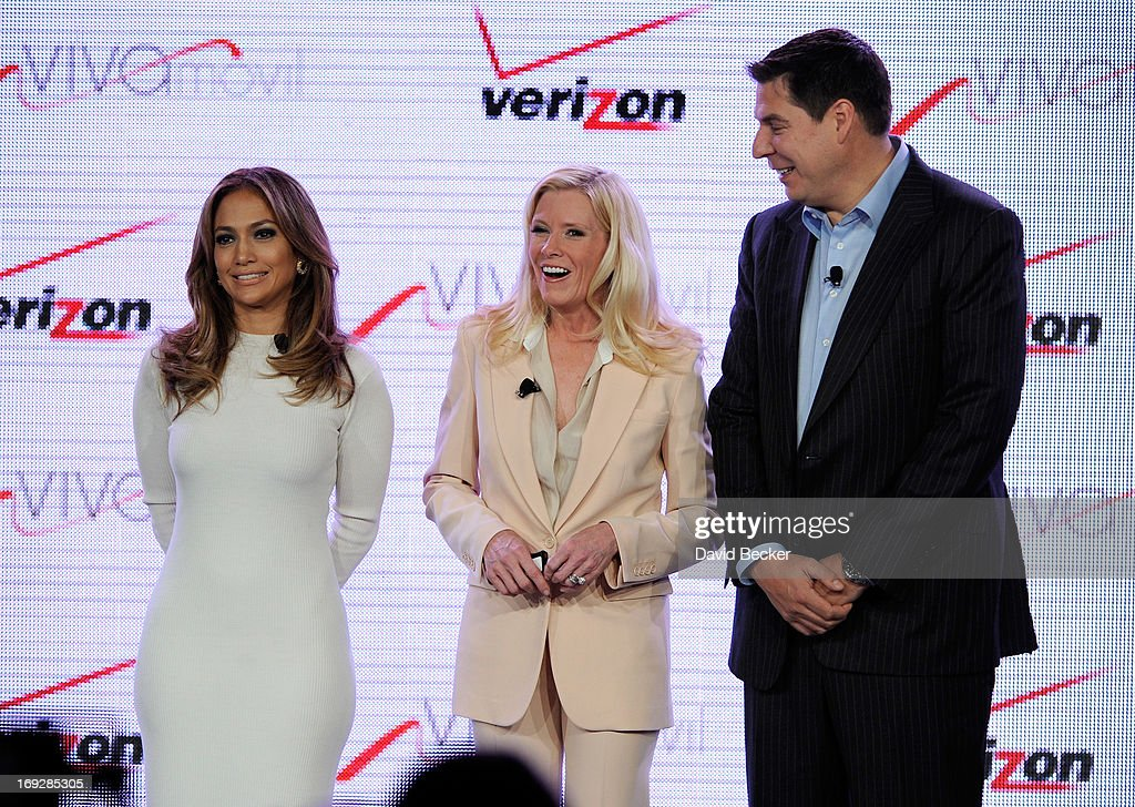 Singer/actress Jennifer Lopez, Verizon Wireless Executive Vice President and Chief Executive Officer Marni Walden and Brightstar Corp. President, Chairman and CEO Marcelo Claure pose after announcing Viva Movil by Jennifer Lopez, a new national wireless retailer designed for the Latino community, during a news conference at the CTIA 2013 convention at the Venetian Las Vegas on May 22, 2013 in Las Vegas, Nevada.