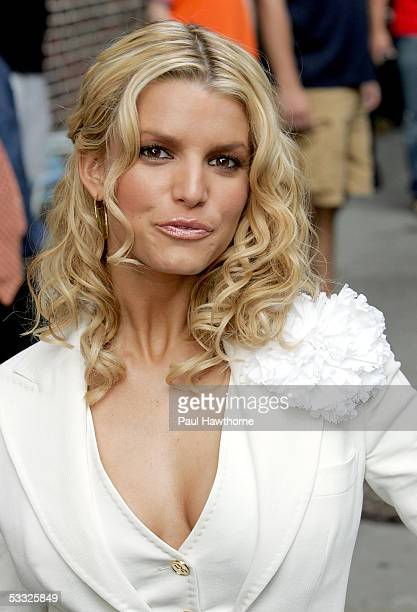 Singer/actress Jessica Simpson departs The Late Show with David Letterman August 4 2005 in New York City