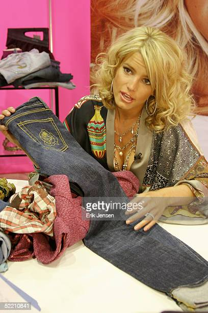 Singer/actress Jessica Simpson discusses her clothing line at the MAGIC convention on February 15, 2005 in Las Vegas, Nevada.