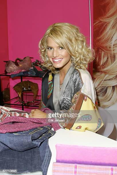 Singer/actress Jessica Simpson poses at the MAGIC convention on February 15 2005 in Las Vegas Nevada