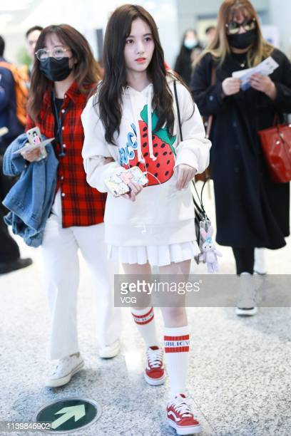 Singer/actress Ju Jingyi is seen at Shanghai Hongqiao International Airport on April 1 2019 in Shanghai China