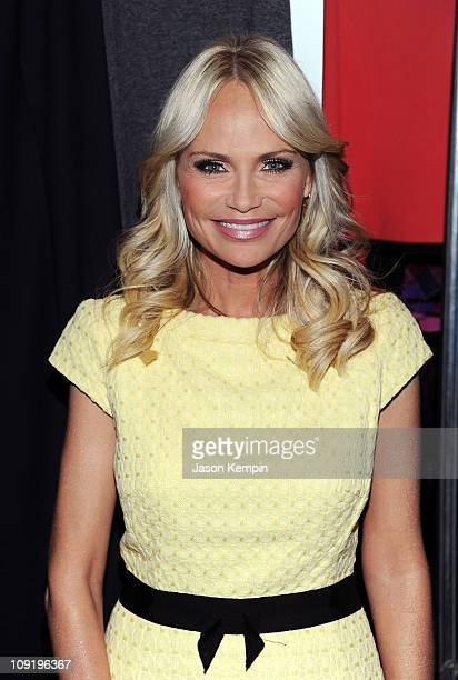 Singer/actress Kristin Chenoweth poses backstage at the Milly by Michelle Smith Fall 2011 fashion show during Mercedes-Benz Fashion Week at The Stage...