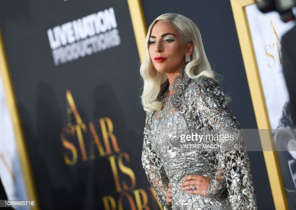 Singer/actress Lady Gaga attends the premiere of 'A star is born' at the Shrine Auditorium in Los Angeles California on September 24 2018