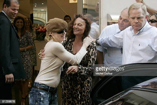 Singer/Actress Madonna leaves her hotel during a stay in Paris at the Four Seasons Hotel on September 3 2004 in Paris France