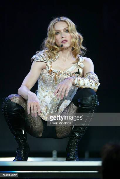 Singer/actress Madonna performs her final dress rehearsals for the ReInvention World Tour 2004 at The Great Western Forum May 21 2004 in Inglewood...