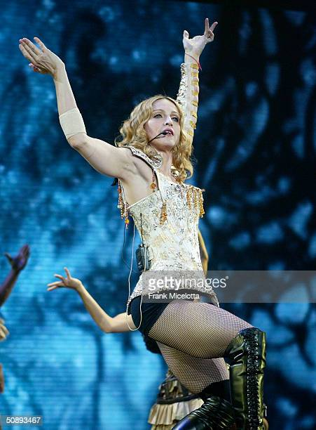 Singer/actress Madonna performs her final dress rehearsals for the 'ReInvention' World Tour 2004 at The Great Western Forum May 21 2004 in Inglewood...