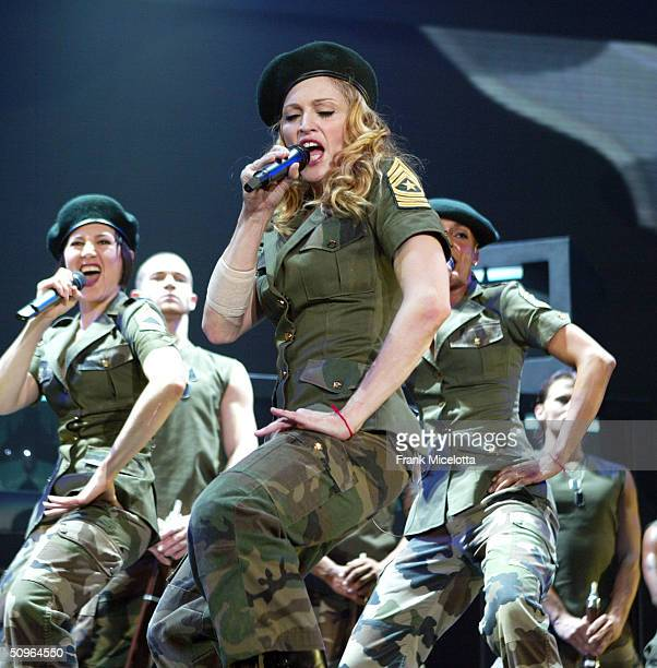 Singer/actress Madonna performs onstage during her 'ReInvention' World Tour 2004 at The Great Western Forum May 26 2004 in Inglewood California The...