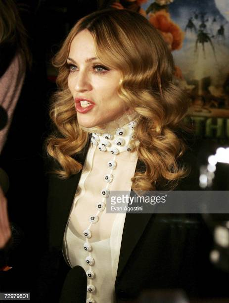 "Singer/actress Madonna talks to the media as she hosts a special screening of ""Arthur And The Invisibles"" at the Tribeca Cinemas January 11, 2007 in..."