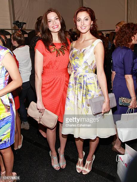 Singer/actress Mandy Moore and actress Eva Amurri attend the Lela Rose Spring 2012 fashion show during MercedesBenz Fashion Week at The Studio at...