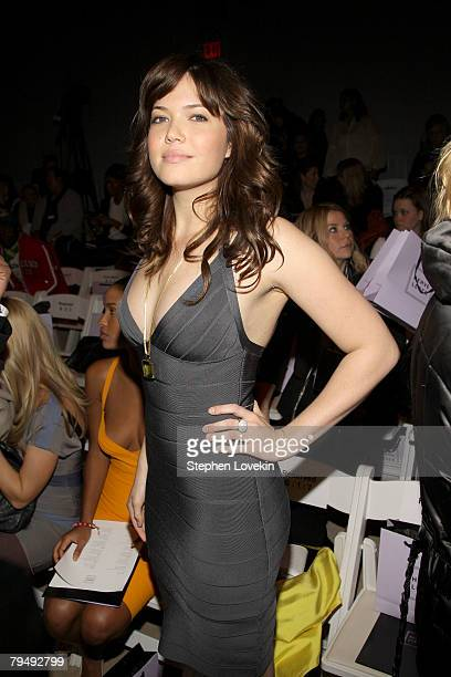 Singer/actress Mandy Moore attends the Herve Leger By Max Azria Fall 2008 fashion show during MercedesBenz Fashion Week Fall 2008 at The Promenade at...