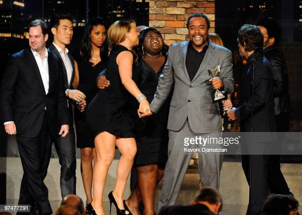 Singer/actress Mariah Carey actress Gabourey Sidibe and director Lee Daniels winners Best Feature for Precious onstage during the 25th Film...