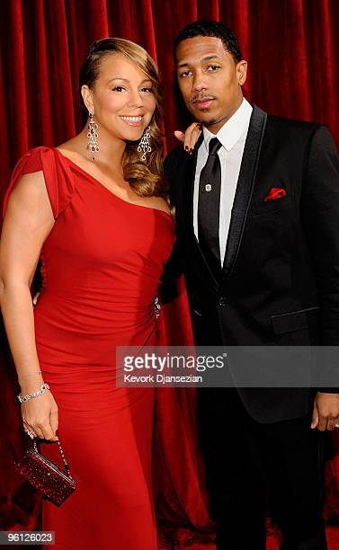 Singer/actress Mariah Carey and singer Nick Cannon arrive at the 16th Annual Screen Actors Guild Awards held at the Shrine Auditorium on January 23...