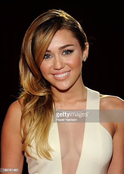 Singer/Actress Miley Cyrus arrives at the 2012 People's Choice Awards at Nokia Theatre LA Live on January 11 2012 in Los Angeles California