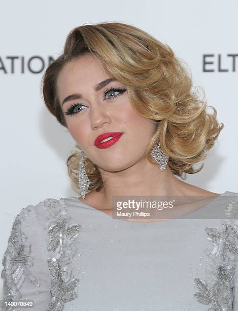 Singer/actress Miley Cyrus arrives at the 20th Annual Elton John AIDS Foundation Academy Awards Viewing Party at Pacific Design Center on February 26...