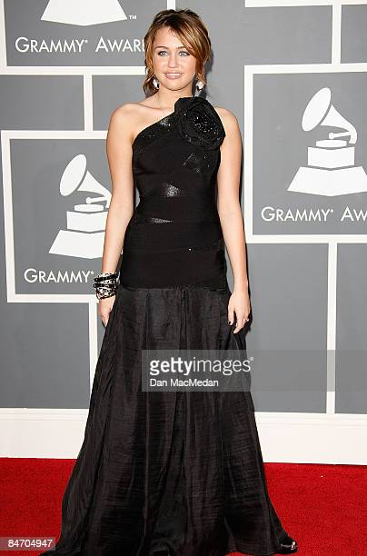 Singer/actress Miley Cyrus arrives at the 51st Annual GRAMMY Awards held at the Staples Center on February 8 2009 in Los Angeles California