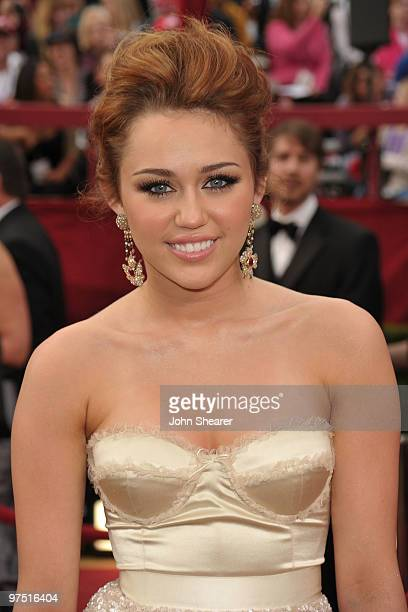 Singer/actress Miley Cyrus arrives at the 82nd Annual Academy Awards held at Kodak Theatre on March 7 2010 in Hollywood California
