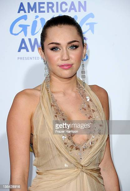 Singer/Actress Miley Cyrus arrives at the American Giving Awards Presented By Chase at Dorothy Chandler Pavilion on December 9 2011 in Los Angeles...