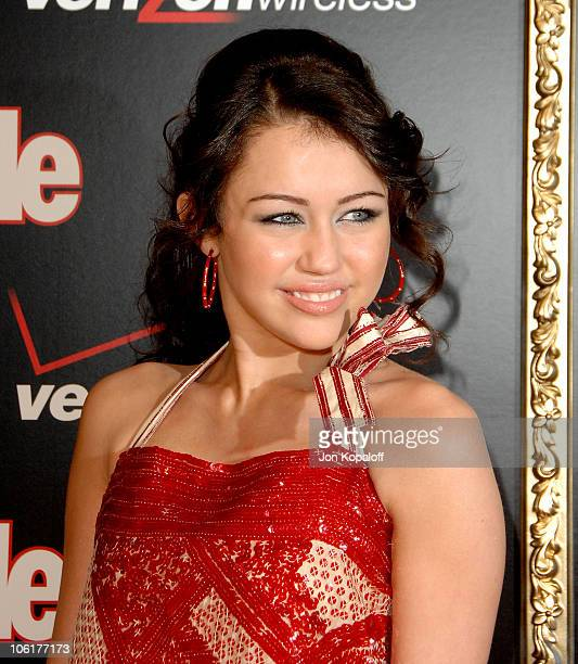 Singer/actress Miley Cyrus arrives to the Verizon Wireless People Magazine's PreGrammy Party at Avalon Hollywood on February 8 2008 in Hollywood...