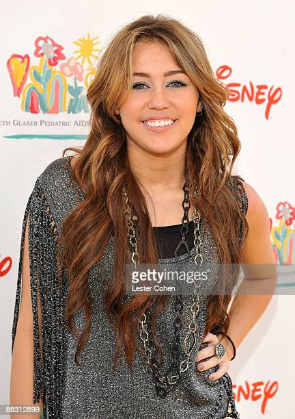 Singer/actress Miley Cyrus attends the A Time for Heroes Celebrity Carnival Sponsored by Disney benefiting the Elizabeth Glaser Pediatric AIDS...