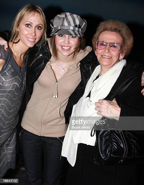 """Singer/Actress Miley Cyrus , mother Leticia """"Tish"""" Cyrus and grandmother Loretta Finley pose as they visit backstage at """"Mamma Mia!"""" on Broadway at..."""