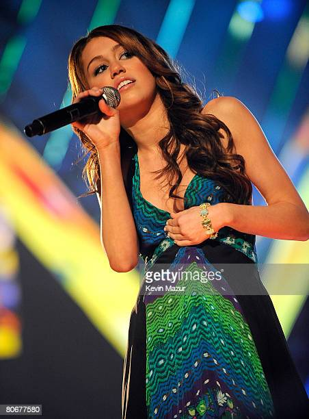 "Singer/actress Miley Cyrus performs ""Ready, Set, Don't Go"" onstage during the 2008 CMT Music Awards at the Curb Event Center at Belmont University on..."