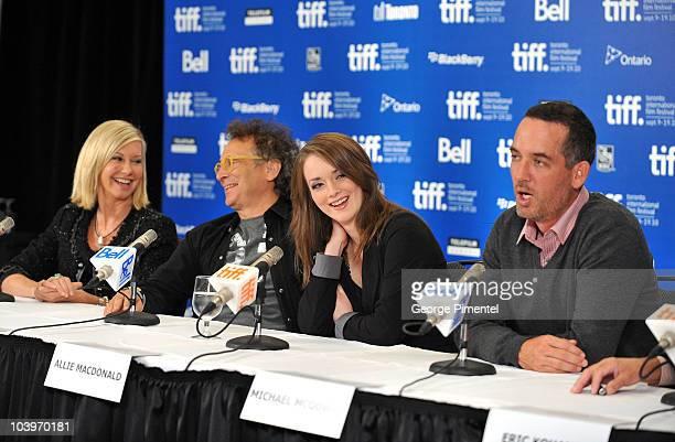 Singer/actress Olivia NewtonJohn Marc Jordan actress Allie MacDonald and director Michael McGowan attend the 'Score A Hockey Musical' Press...