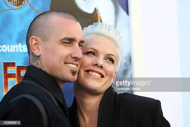 Singer/Actress Pink and Carey Hart attend the 'Happy Feet Two' Los Angeles premiere held at the Grauman's Chinese Theatre on November 13 2011 in...