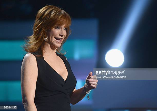 Singer/actress Reba McEntire speaks onstage during the 48th Annual Academy of Country Music Awards at the MGM Grand Garden Arena on April 7, 2013 in...