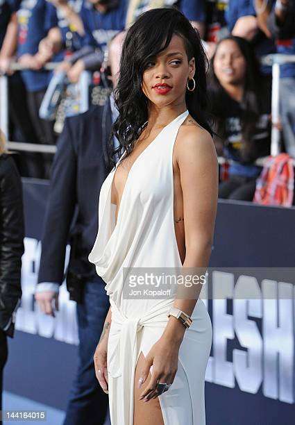 Singer/actress Rihanna arrives at the Los Angeles Premiere Battleship at the Nokia Theatre LA Live on May 10 2012 in Los Angeles California
