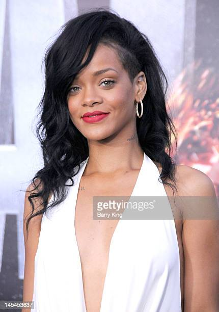 Singer/actress Rihanna arrives at the Los Angeles premiere of Battleship at the Nokia Theatre LA Live on May 10 2012 in Los Angeles California