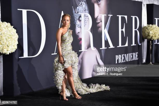 Singer/actress Rita Ora attends the premiere of Universal Pictures' 'Fifty Shades Darker' at The Theatre at Ace Hotel on February 2 2017 in Los...