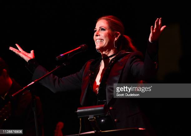 Singer/actress Rita Wilson performs onstage during the 'Music Strong' benefit concert at Thousand Oaks Civic Arts Plaza on February 10 2019 in...