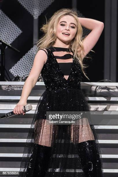 Singer/actress Sabrina Carpenter performs onstage during Q102's Jingle Ball 2017 Presented by Capital One at Wells Fargo Center on December 6 2017 in...