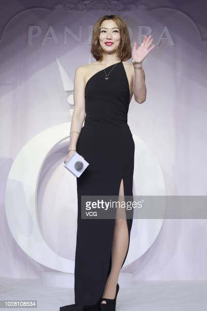 Singer/actress Sammi Cheng Sauman attends a new product release conference of Pandora on August 29 2018 in Shanghai China